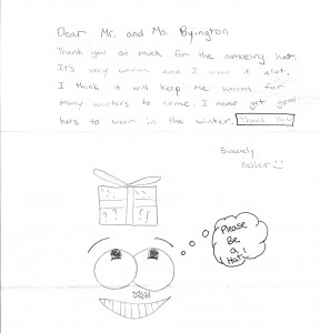 """In his wonderful thank you note, Keller Gordon drew a cartoon of a boy who is thinking, """"Please Be a Hat!"""""""