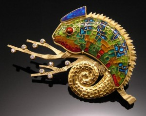 """Panther Chameleon Pin/Pendant"" by Amy Roper Lyons"