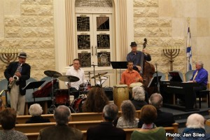 l to r.: Michael Hashim saxophone; Bobby Sanabria, drums; Matthew Gonzalez percussion; Frank Wagner, bass; Eugene Marlow, Leader/Keyboard