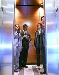 office elevator with people