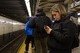 Smartphone in subway