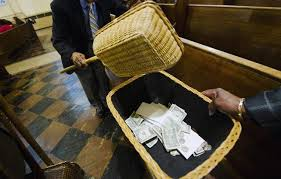 collecting money at church