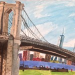 """View from Brooklyn Bridge Park,"" watercolor on paper, 12"" x 18,"" by Alicia Degener"