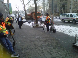 NYC snow cleanup team.