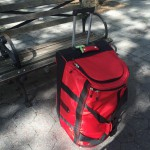 Red suitcase turned