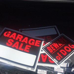 Garage sale signs in trunk